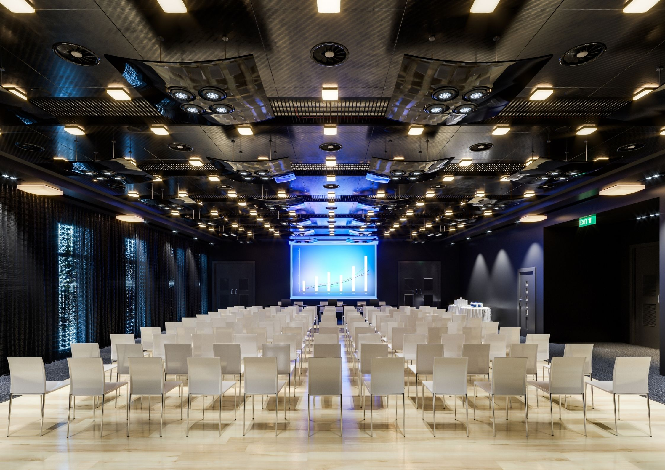 Conference room with lights, speakers, display and signal management system